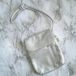 Tignanello Silver Metallic Leather Crossbody Purse